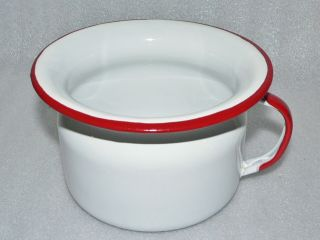 Vintage Childs Enamel Ware Enamelware Potty Pee Chamber Pot White Red photo