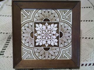 Antique Minton Hollins & Co Brown Transferware Wood Framed Tile Circa 1890 photo