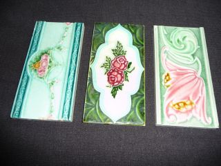 3 Vintage Art Nouveau Majolica English Tiles photo