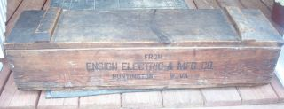 Ensign Electric And & Mfg.  Manufacturing Co.  Company Huntington,  Wva Crate Box photo