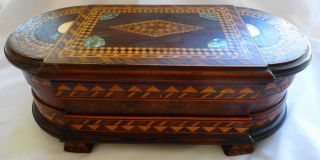 Antique Wooden Footed Jewelry Box Inlaid With Mother Of Pearl photo