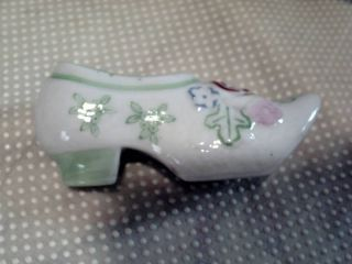 Antique Ceramic Shoe - White W/ Flowers - Dated 1938 photo