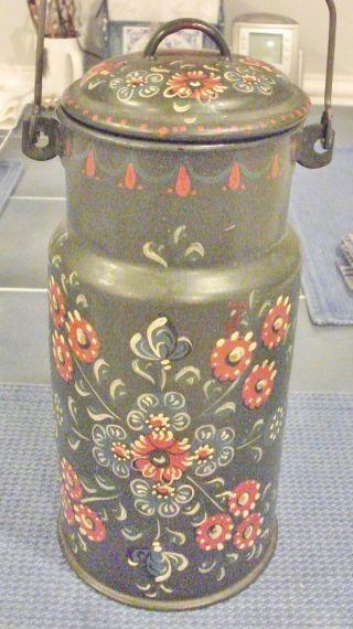 Antique Tole Painted Metal Milk Jug,  Green,  Metal & Wood Handle,  Enamel Interior photo
