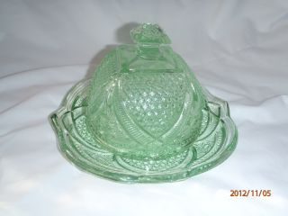 Vintage Green Butter Dish With Lid photo