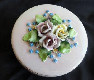 Antique Elfinware Floral Decorative Porcelain Dresser Box Germany photo