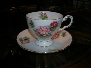 Vntg Englishntuscon Bone China Tea Cup & Saucer July ' S Water Lily photo