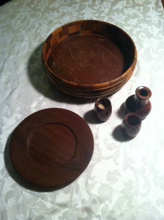 5 California Redwood Pieces.  Bowl,  Plate,  Vase And Toothpick Holders photo