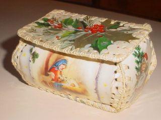 Vintage 1960s Greeting Card Sewing Box - Christmas Theme - Mini Size photo