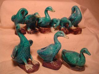 Antique China Blue Glaze Geese Figurines 9 Nr photo