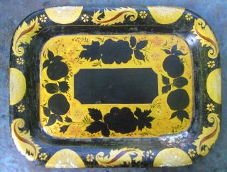 Pretty Black & Yellow Tole Tray - Vintage Toleware - Old Trays - Tole Trays Nr photo