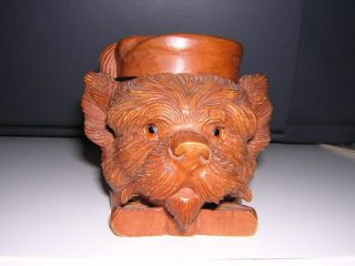 Late 19th Century Black Forest Hand Carved Scottie Dog Inkwell photo