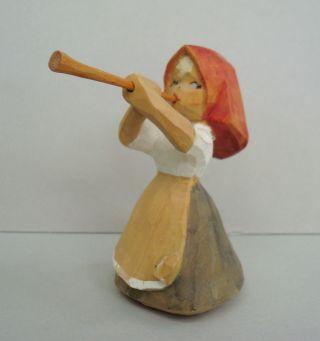 Vtg Norwegian Pillar - Guri Carved Wood Girl W Horn Wooden Scandinavian Norway photo