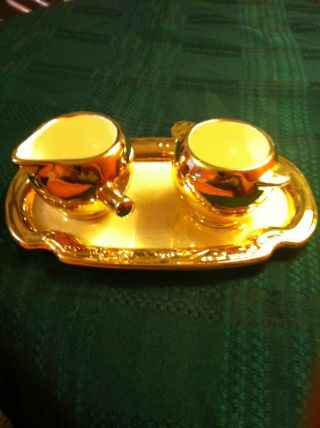 Vintage Warranted 22k Gold Creamer,  Sugar Bowl,  And Serving Dish. photo