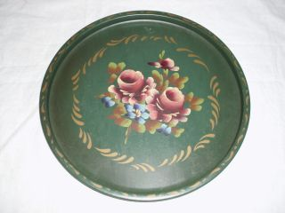 Small Vtg Green Tole Painted Tin Serving Tray photo