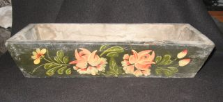 Antique Hand Painted Flower Box Wood Tole Floral Planter Day Lily Flowers Garden photo