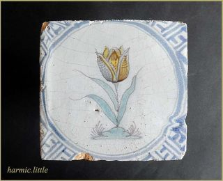 A Early Dutch Delft Polychrome Tulip Tile,  Circa 1650 photo