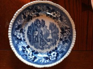 Antique 1800s Blue & White Transfer Printed Porcelain Plate W/ Castle Cows photo