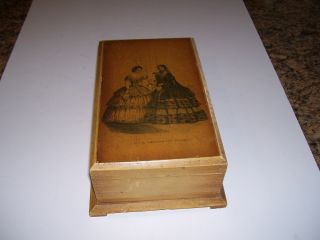 Antique Wooden Dresser Box With Godies Ladies Print On Top photo