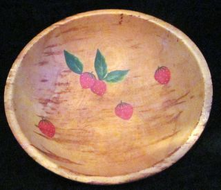 Wooden Bowl Vintage Hand Turned Hand Painted Strawberries photo