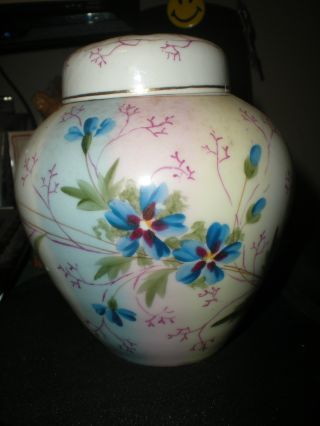 Vintage Victorian Era Hand Painted Ginger Jar With Pierced Cover Floral Violets photo