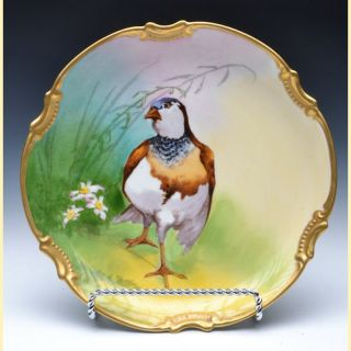 Gorgeous Limoges Hand Painted Game Bird Charger,  Artist Signed photo