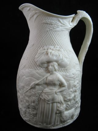 1858 English Figural Salt Glaze Pitcher Gleaner 9 5/8