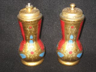 Stunning Italian Florentine Salt And Pepper Shakers - Tole Toleware photo