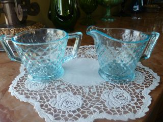 Vintage Aqua Blue Creamer And Sugar Set Diamond Pattern 2.  75