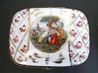 Antique French Porcelain Dome - Top Trinket Box With Maidens In The Field Motif photo