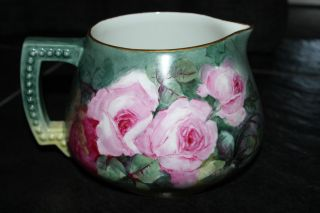 Antique Jean Pouyat Limoges Cider Pitcher Roses photo