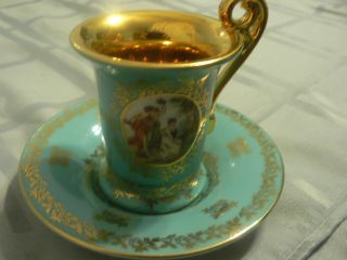 Germany Demi Demitasse Teacup And Saucer Green Bremer&schmidt 1845 - 1972? photo