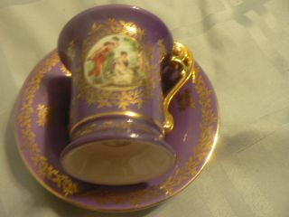 Germany Demi Demitasse Teacup And Saucer Purple Bremer&schmidt 1845 - 1972? photo