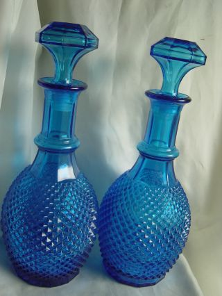 Two Large Old Pressed Glass Decanters photo