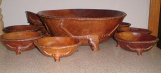 11 Pc.  Vintage Hand Carved Teak Wood Salad Set Footed With Bull Heads Rare photo