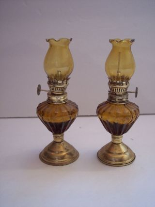 2 Vintage Pressed Glass Amber Taupe Miniature Oil Lamp & Chimney Brass Base 5.  5