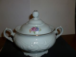 Vintage Wawel China Poland Floral Pattern Rose Sugar Bowl photo