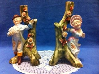 A Pair Of 2 Ceramic Hand Painted Vintage/antique Candle Holders 1985 photo