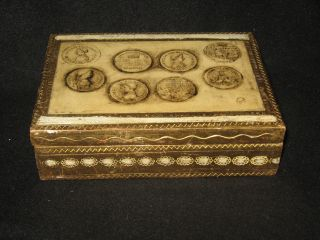 Italian Wood Florentine Box - Toleware Tole Italy Jewelry Box Engraved photo