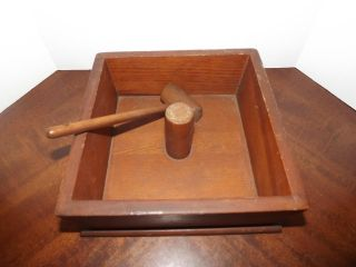 Vintage Wood Nut Cracker Box And Mallet photo