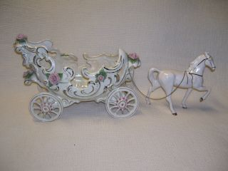 Vintage Victorian Style Horse & Carriage Planter/vase White/w/gold Trim photo