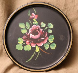 Vintage Round Decorative Arts Hand Painted Floral Rose Decorated Toleware Tray photo