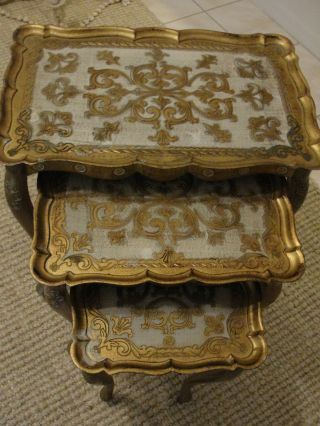 3 Vintage Italian Florentine Toleware Stacking Nesting Tables Italy 3 Gold photo