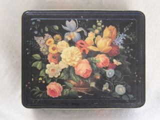 Vintage Metal Cabbage Rose Floral Decal Transfer Biscuit Sewing Box Tin Signed photo