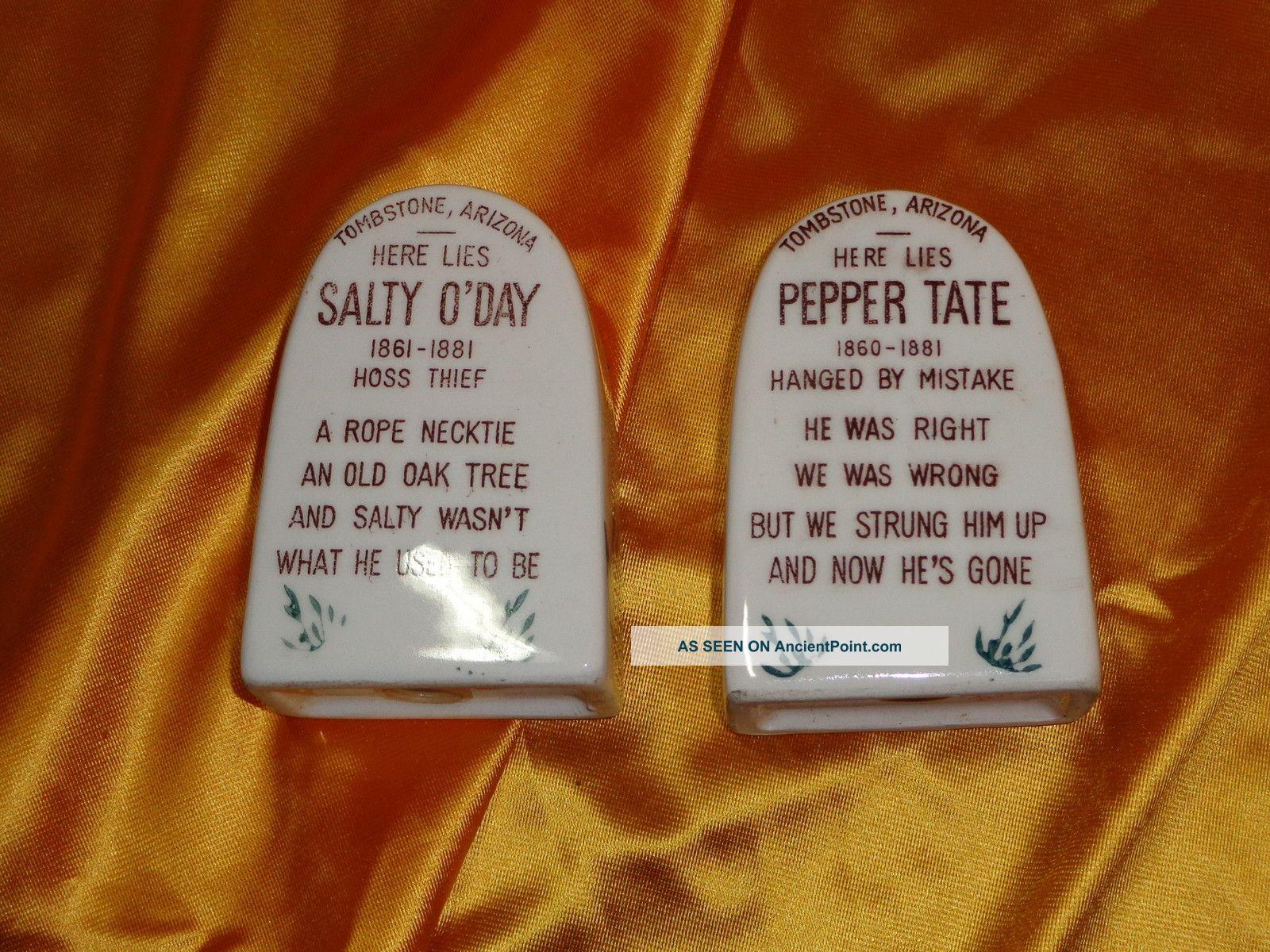 Vintage Ceramic Salt And Pepper Shakers Vintage Tombstone Ceramic Salt