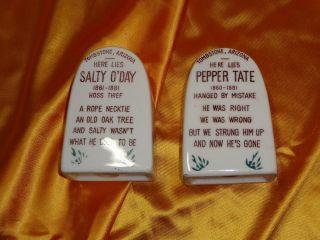Vintage Tombstone Ceramic Salt & Pepper Shakers photo