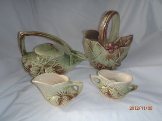 Mccoy Teapot,  Creamer,  Sugar And Vase Set Rustic Pine Cones photo