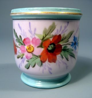 England English Porcelain Hand Painted Miniature Cachepot Ca.  First Half 20thc. photo