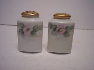 Vintage Oeg Royal Austria Pink Blossom Triangle Gold Top Salt & Pepper Shakers photo