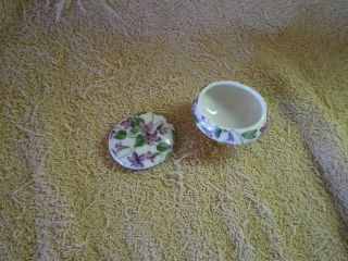 Box,  Tiny Porcelain Trinket Box,  Only Mark,  Lx - 395,  Purple Flowers,  3 Gold Legs photo