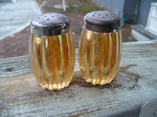 Two Old Heavy Rib Clear Marigold Carnival Glass Salt And Pepper Shakers photo